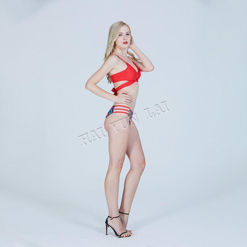 Women's Multicolor Patterned Strappy Bikini Set